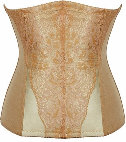 "SLICKCHIX ""TAN LACE OVERLAY STEEL BONED"" WAIST TRAINING CORSET"