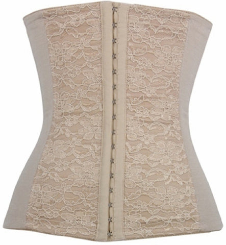 "SLICKCHIX ""TAN LACE STEEL BONE"" WAIST TRAINING CORSET"