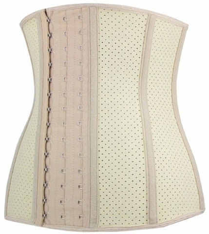 "SCD47-SLICKCHIX ""BREATHABLE HOLE NUDE STEEL BONED LATEX SHAPER"" WAIST TRAINING CORSET"