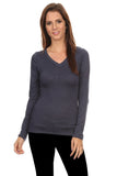 3 Pack Women's Long Sleeve Shirt V-Neck Slim Fit