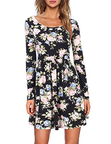 SCCNTRY005-WOMEN'S PRINT DRESS PLEATED SWING A LINE DRESS