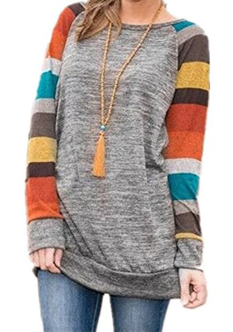 SCCNTRY006-TEEN GIRL SHIRTS WITH RAGLAN SLEEVE KNITTED LONG TUNIC TOP