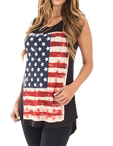 SCCNTRY008-WOMEN SLEEVELESS AMERICAN FLAG TANK TOP