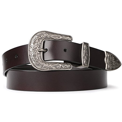 SCCNTRY009-GENUINE LEATHER BELTS W/ VINTAGE METAL BUCKLE