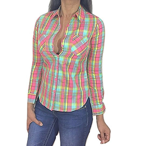 SCCNTRY010-WOMEN'S PLAID BUTTON DOWN COUNTRY CHIC LONG SLEEVE TOP