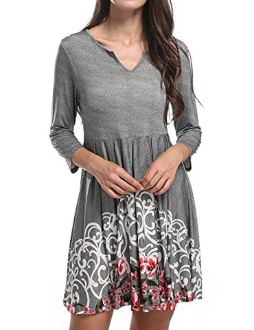 SCCNTRY011-WOMEN'S LONG SLEEVE PRINTED SWING SCALLOP PLEATED TUNIC DRESS