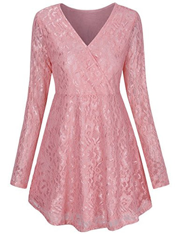 SCCNTRY013-WOMEN'S LONG SLEEVE V NECK A LINE LACE TUNIC DRESS
