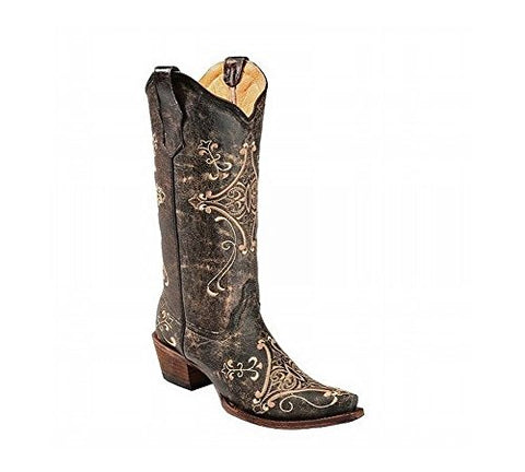 SCCNTRY020-CORRAL WOMEN'S SCROLL EMBROIDERY WESTERN BOOTS
