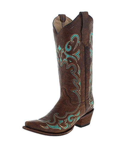 WOMEN'S EMBROIDERED COWGIRL BOOT SNIP TOE SCCNTRY021