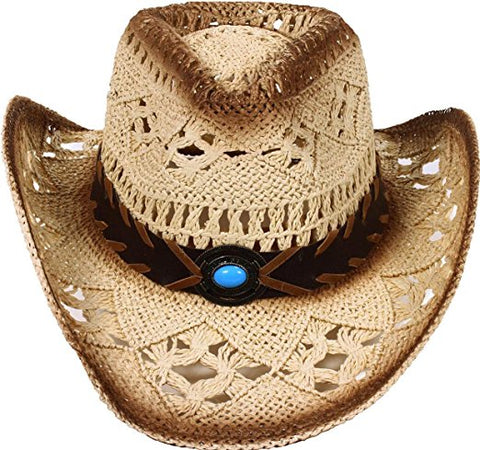 SCCNTRY028-WOMEN'S WESTERN STYLE COWGIRL STRAW HAT