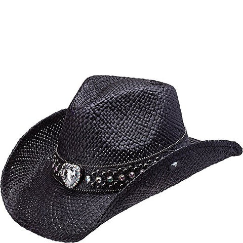 SCCNTRY030-WOMEN'S COBURN BLING HEART STRAW COWGIRL HAT