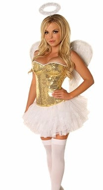 WOMEN'S  4 PC GOLD SEQUIN ANGEL HALLOWEEN COSTUMES SCDCB1903