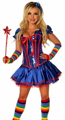 WOMEN'S 6 PC SEXY RAINBOW GIRL HALLOWEEN COSTUME SCDCB2002