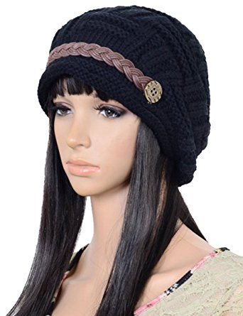 SCHATS001-WINTER BEANIE CABLED PATTERN KNIT HAT