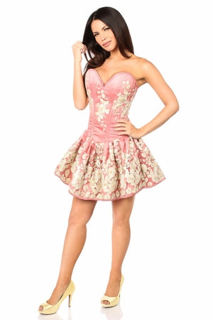 Top Drawer Elegant Coral Floral Embroidered Steel Boned Short Corset Dress