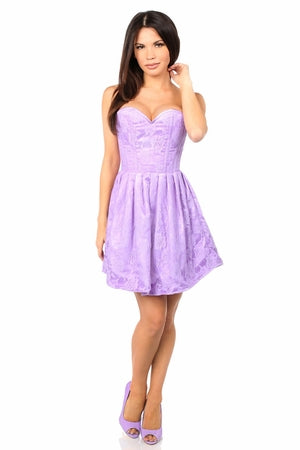 Top Drawer Steel Boned Lilac Lace Empire Waist Corset Dress