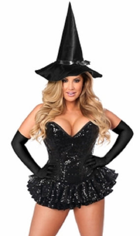 "SLICKCHIX ""TOP DRAWER PREMIUM SEQUIN WITCH CORSET DRESS"" COSTUME"