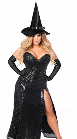 "SLICKCHIX ""TOP DRAWER PREMIUM SEQUIN WITCH CORSET"" COSTUME"