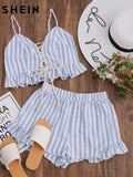 SHEIN Blue Striped Sleeveless Lace Up Smocked Crop Cami and Ruffle Shorts Co-Ord