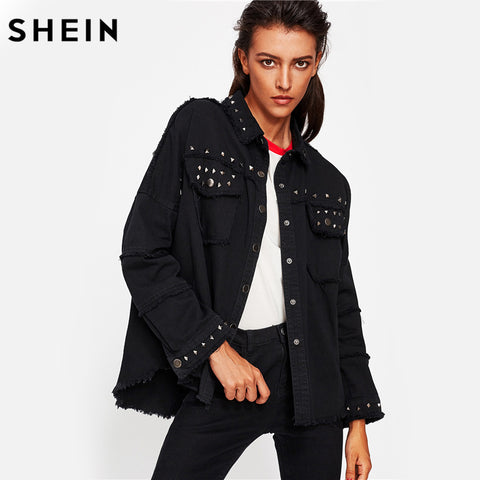 SHEIN Studded Frayed Hem Denim Jacket Autumn Women Coats Black Lapel Single Breasted