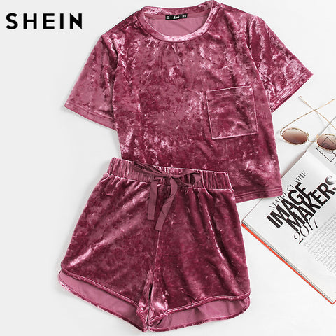 SHEIN Women Two Piece Outfits Purple Short Sleeve Pocket Front Crushed Velvet Top and Bow Shorts Set