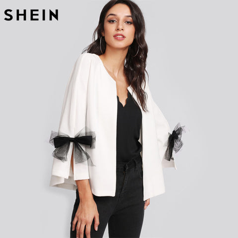 SHEIN Girls Elegant Coat Blazer Women Bow Slit Bell Sleeve Textured Blazer White Three Quarter Length Sleeve Blazer