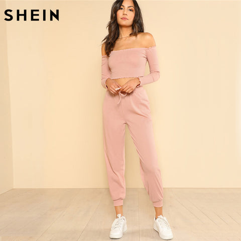 SHEIN Women 2 Piece Set Top and Pants Casual Woman Set Pink Off the Shoulder Crop Bardot Top and Drawstring Pants Set