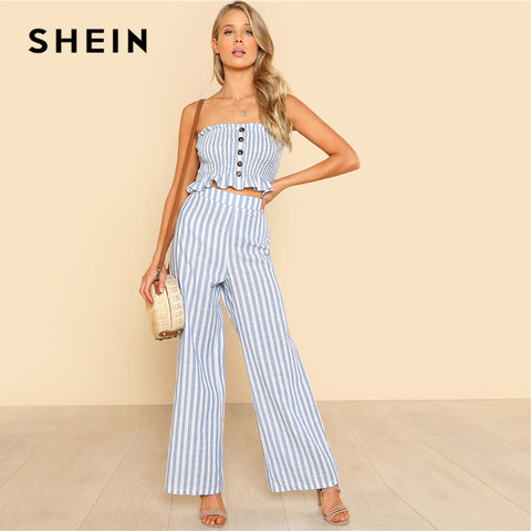 SHEIN Blue Ruffle Strapless Top & Pants Set