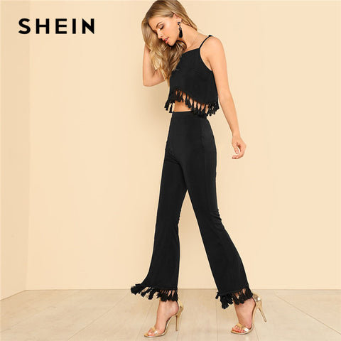 SHEIN Plain Tassel Hem Crop Top & Flare Pants Set