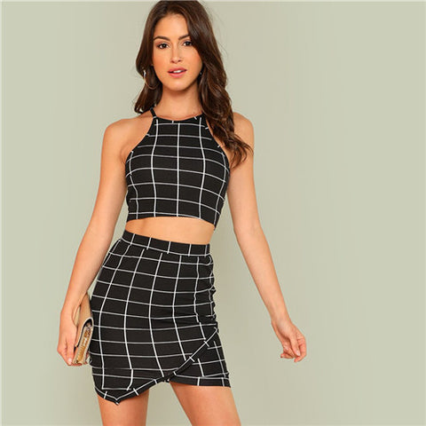 SHEIN Elegant Black and White Plaid Office Lady Workwear Women Two Piece Set