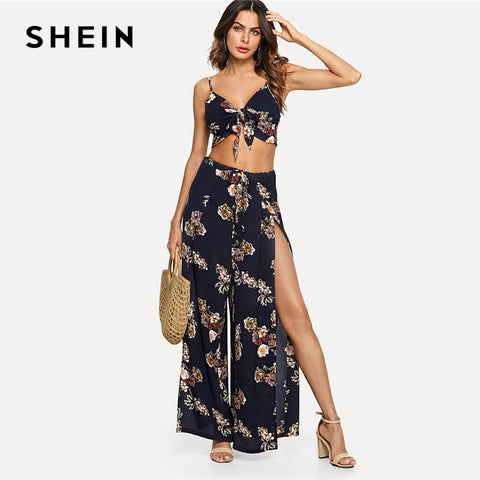 SHEIN Multicolor Vacation Boho Bohemian Beach Floral Print Cami Top And Palazzo Pants 2 PC Set