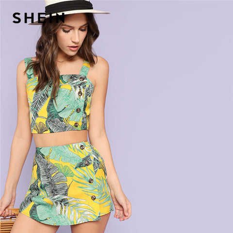 SHEIN Multicolor Vacation Bohemian Beach Tropical Print Crop Top And Button Short Set