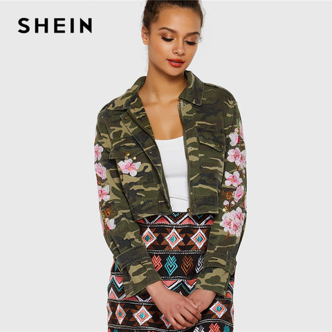 SHEIN Multicolor Elegant Casual Embroidered Camo Crop Single Breasted Pocket Button Trim Jacket