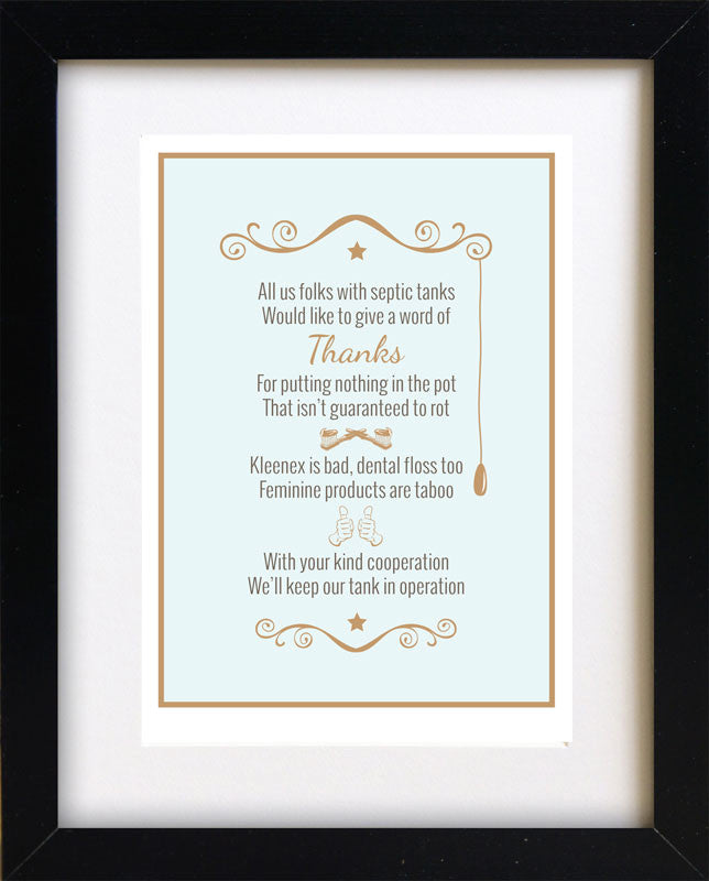Septic system rules poem framed for bathroom 8 x 10 for 1 bathroom septic system