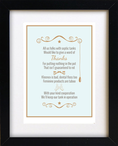 Septic System Rules Poem Framed For Bathroom 8 Quot X 10