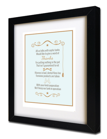 "Septic System Rules Poem Framed for Bathroom - 8"" x 10"""