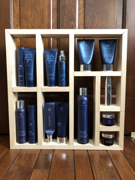 solid wood hair care shelf specifically designed for Monat Products, handmade, organization, dark stained