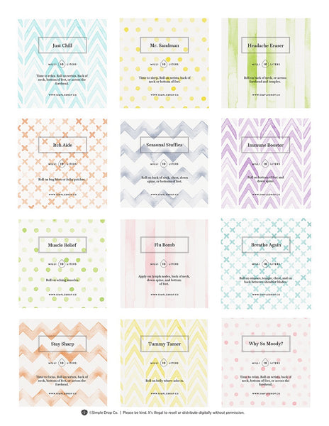 Watercolor 10ml Editable label sheet
