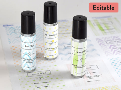 Watercolors Editable 10ml Rollerbottle Label Set