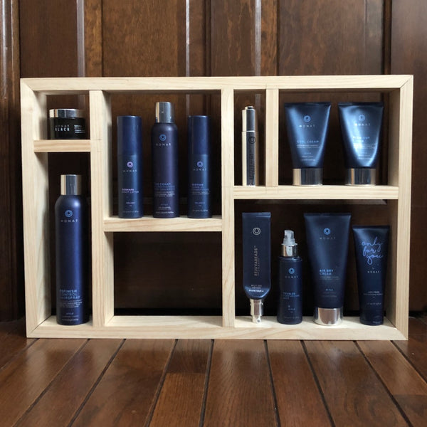 Handmade solid pine decorative shelf for your Monat Hair care products. Specifically designed to house Monat Products. Decorative Shelf, organization, shelving, handmade, wooden