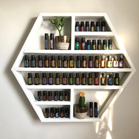 Extra Large Hexagon, solid pine, handmade essential oil shelf.