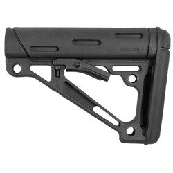 HOGUE AR-15/M-16 OverMolded Collapsible Buttstock -Fits Commercial Buffer Tube -Black Rubber