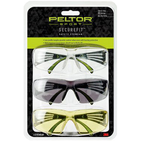 PELTOR - Securefit 400 Eye Protection 3 Pack - Anti-Fog Clear, Amber, Grey