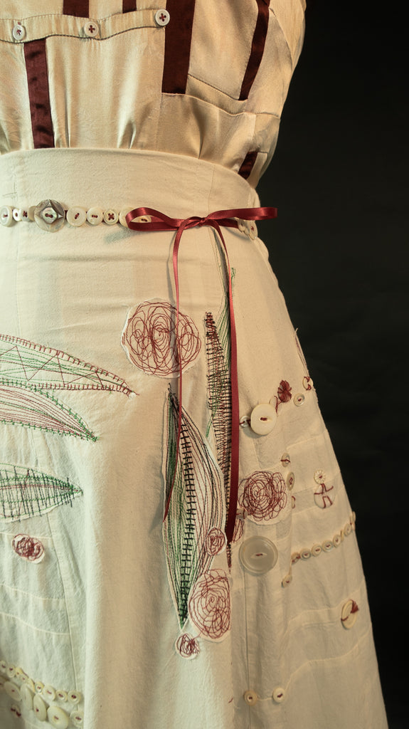 Patchwork Muslin Skirt with Silk Patchwork Camisole