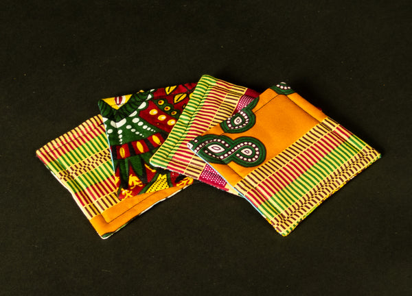 4 Assorted African Print Coaster 1020D
