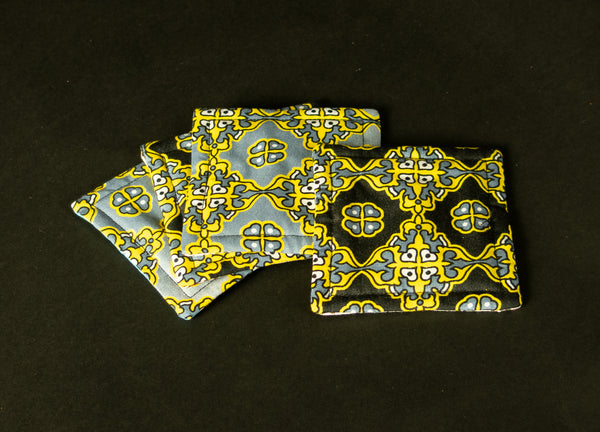 4 Assorted African Print Coaster 1020F