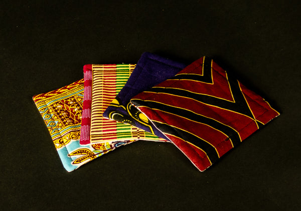4 Assorted African Print Coaster 1020G