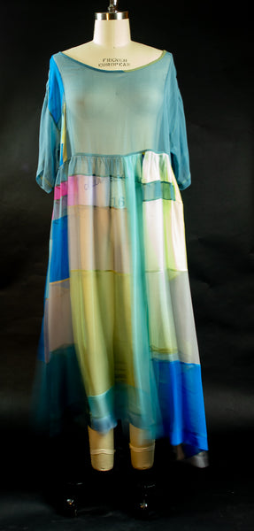 Light Turquoise Blue and Prints Silk Chiffon Patchwork Tunic