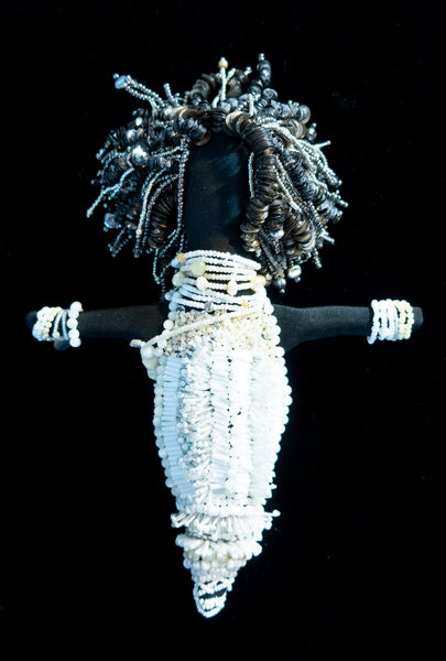 Beaded Doll with White Beads and Grey Locs