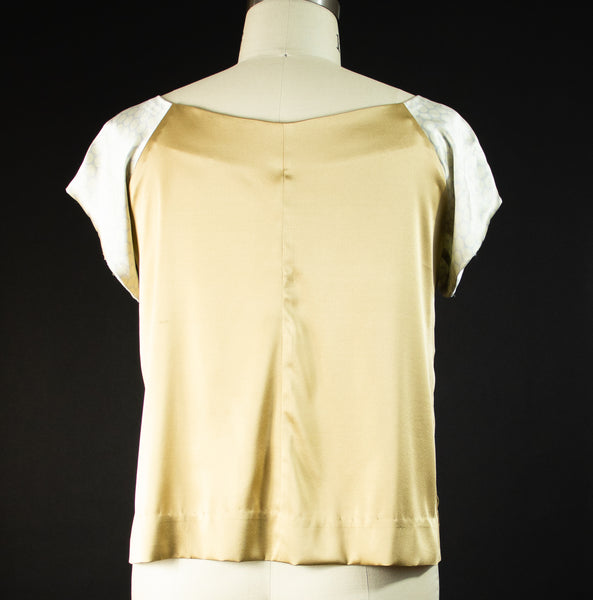 Gold Stretch Silk with Polka Dot Sleeves